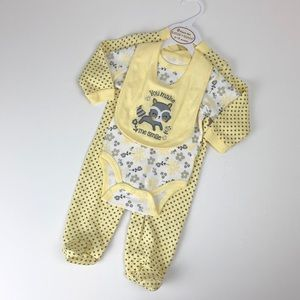NEW Sandy & Simon baby girl yellow 3 piece set